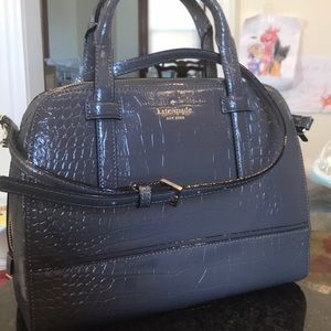 New Gray Bonded Leather Kate Spade Bag msrp $650